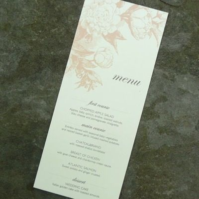 Diy Rose  Scrolls Wedding And Event Menu Template From