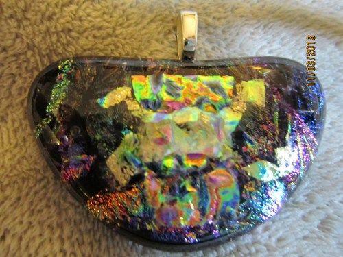 COLORFUL PICASSO DICHROIC GLASS HEART SHAPE PENDANT PURPLE !!   Imaginative_Creations - Jewelry on ArtFire