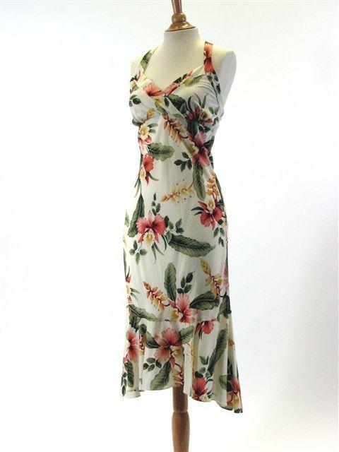 TP 904R [Sonic/Beige] Mid-Length Dress - Middle Dresses - Hawaiian Dresses | AlohaOutlet SelectShop