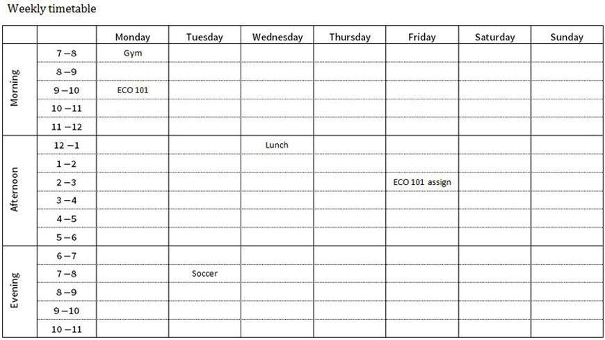 timetable planner printable editable blank