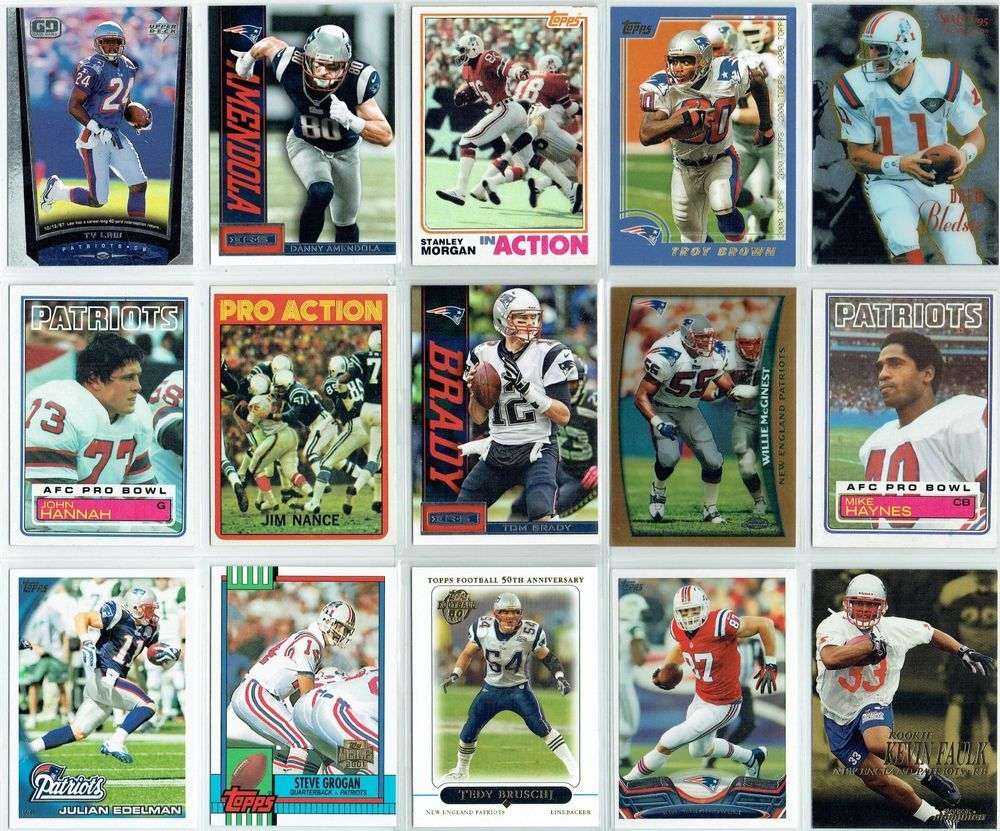 New England Patriots football card history collage (NM)