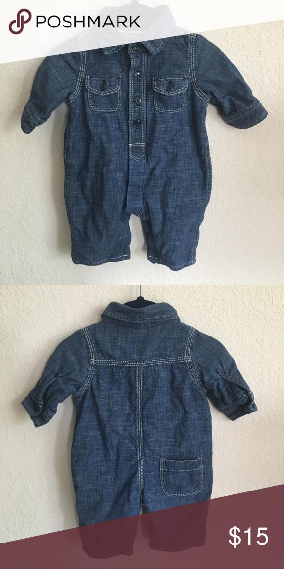 8f4e5a8f366a7 Gap Warm Denim Jumpsuit BabyGap 1969 denim chambray coverall full body  onesie romper. White stitching