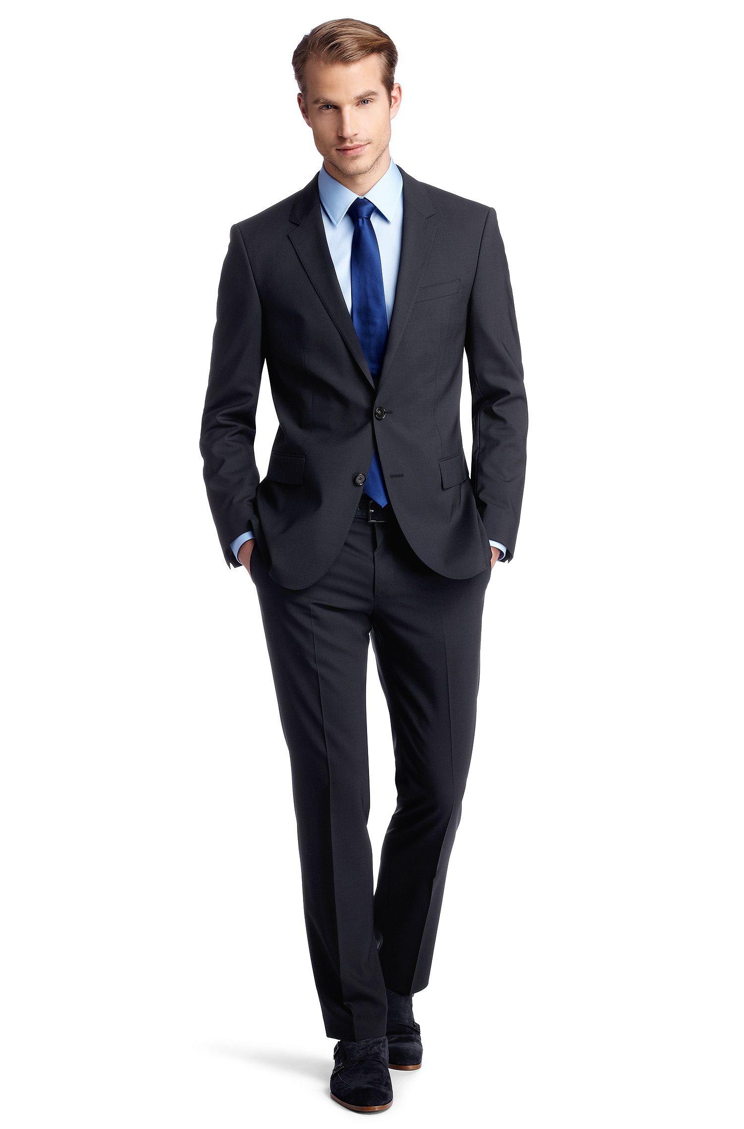 aba21d149131e BOSS Costume Slim Fit en laine vierge, Huge1 Genius1 Bleu foncé free  shipping