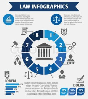 Law And Justice Business Infographics Layout Design Template With Infographic Business Infographic Graph Design