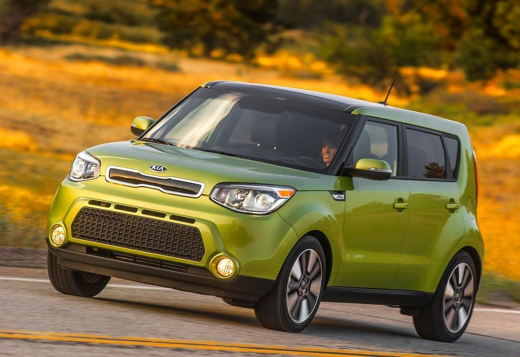 2017 Kia Soul Front View Exterior Green Color Headlights And Grille