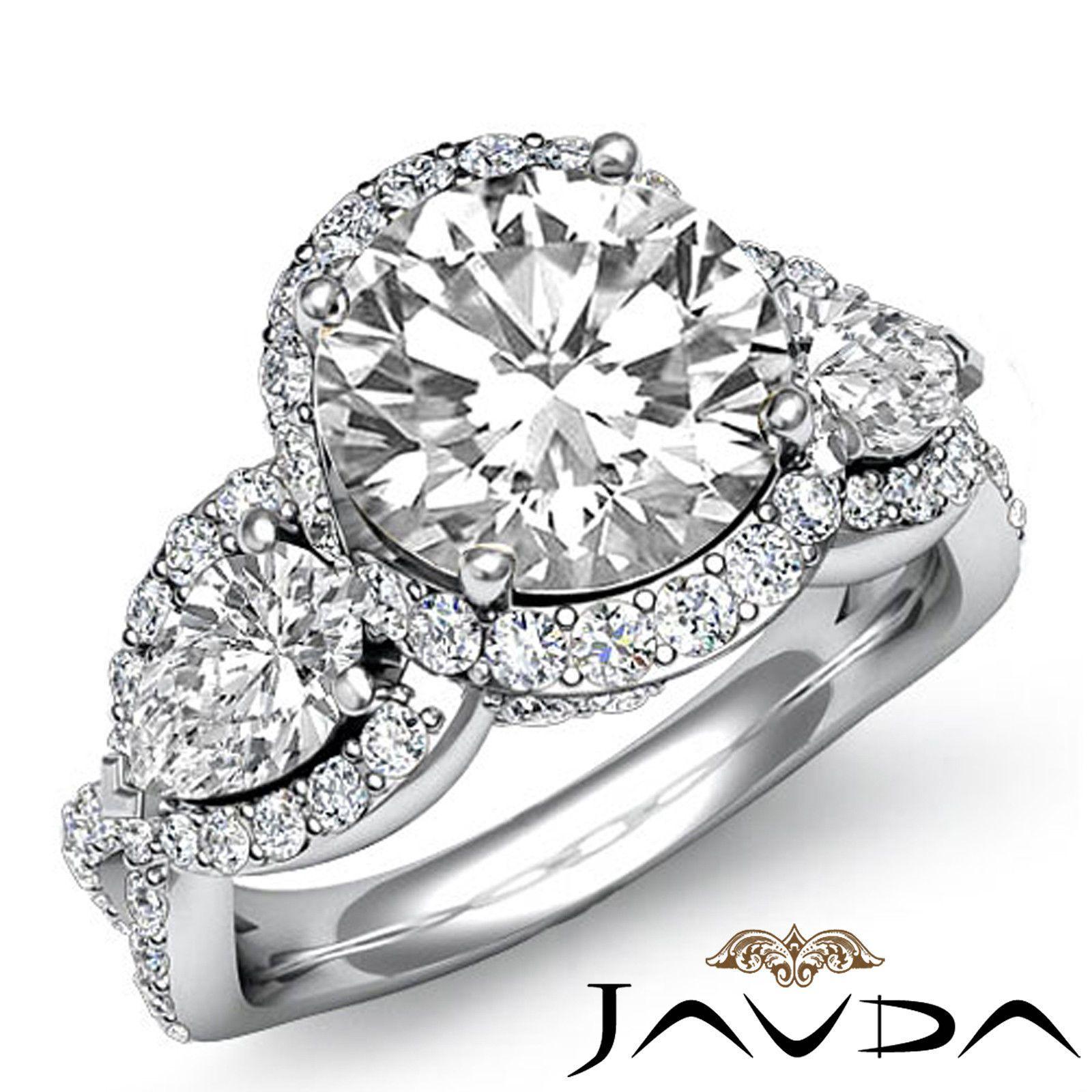 Cross Shank Round Diamond Three 3 Stone Engagement Ring