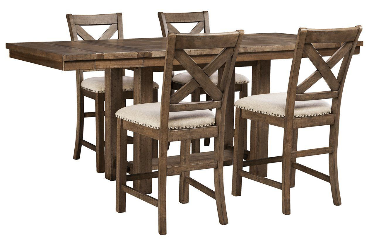 Moriville Counter Height Dining Table And 4 Barstools Ashley Furniture Homestore Counter Height Dining Table Counter Height Dining Room Tables Counter Height Dining Table Set