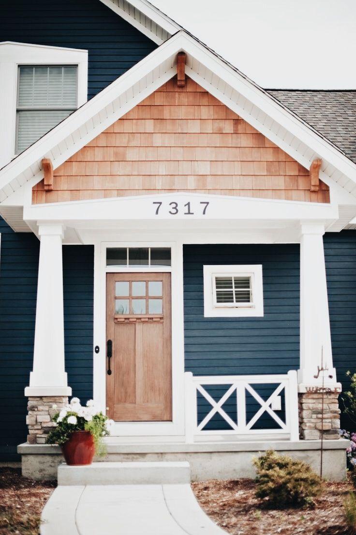 Exterior window trim design ideas  craftsman house dark blue with white trim and shake shingles