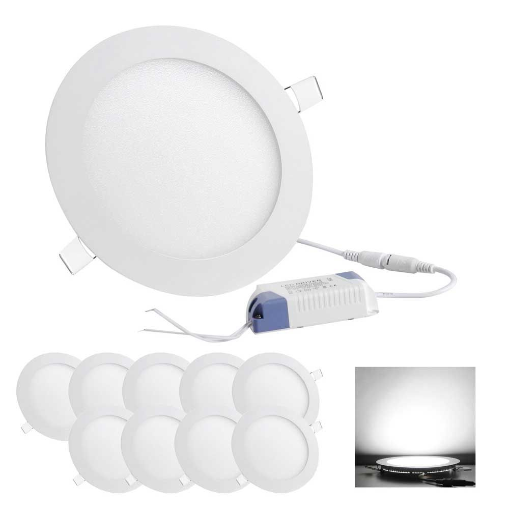 10pcs 12w led recessed lights cool white 52 httpgadgetar round led recessed ceiling panel down lights bulb lamp for indoor home aloadofball Choice Image
