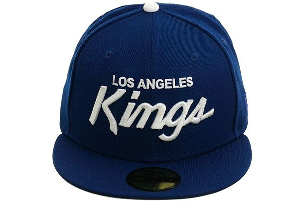 New Era 5950 Los Angeles Kings Script Fitted Hat Royal Blue White Los Angeles Kings Fitted Hats New Era