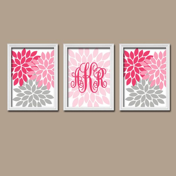 Pink Gray Wall Art Nursery Artwork Girl Child Custom Cursive Monogram Flower  Letter Initial Set of 3 Prints Decor  Bedroom Crib Baby Three on Etsy, $29.00