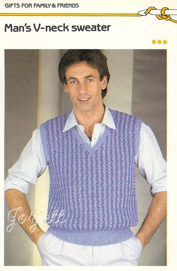 Mans V Neck Sweater Vest Crochet Pattern Crocheted Odds And Ends
