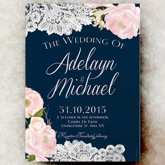 Navy Blue Blush Pink Wedding Invitation Printable Country Wedding
