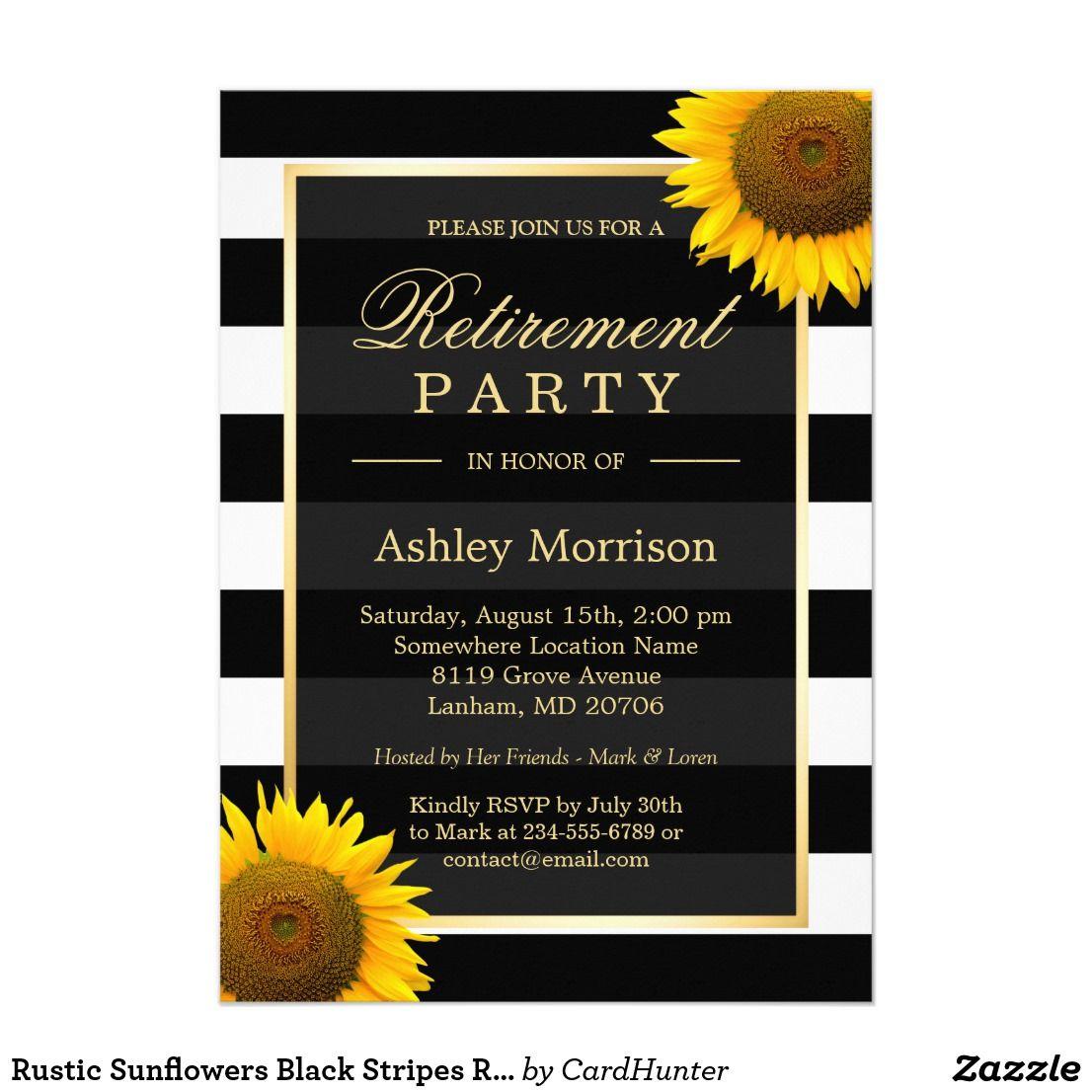 Rustic Sunflowers Black Stripes Retirement Party