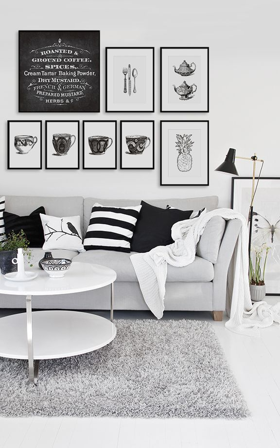 Black and white interior design livingroom posters framed art www desenio se