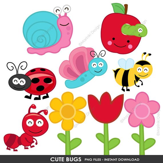 Spring cartoon. Cute bugs clip art