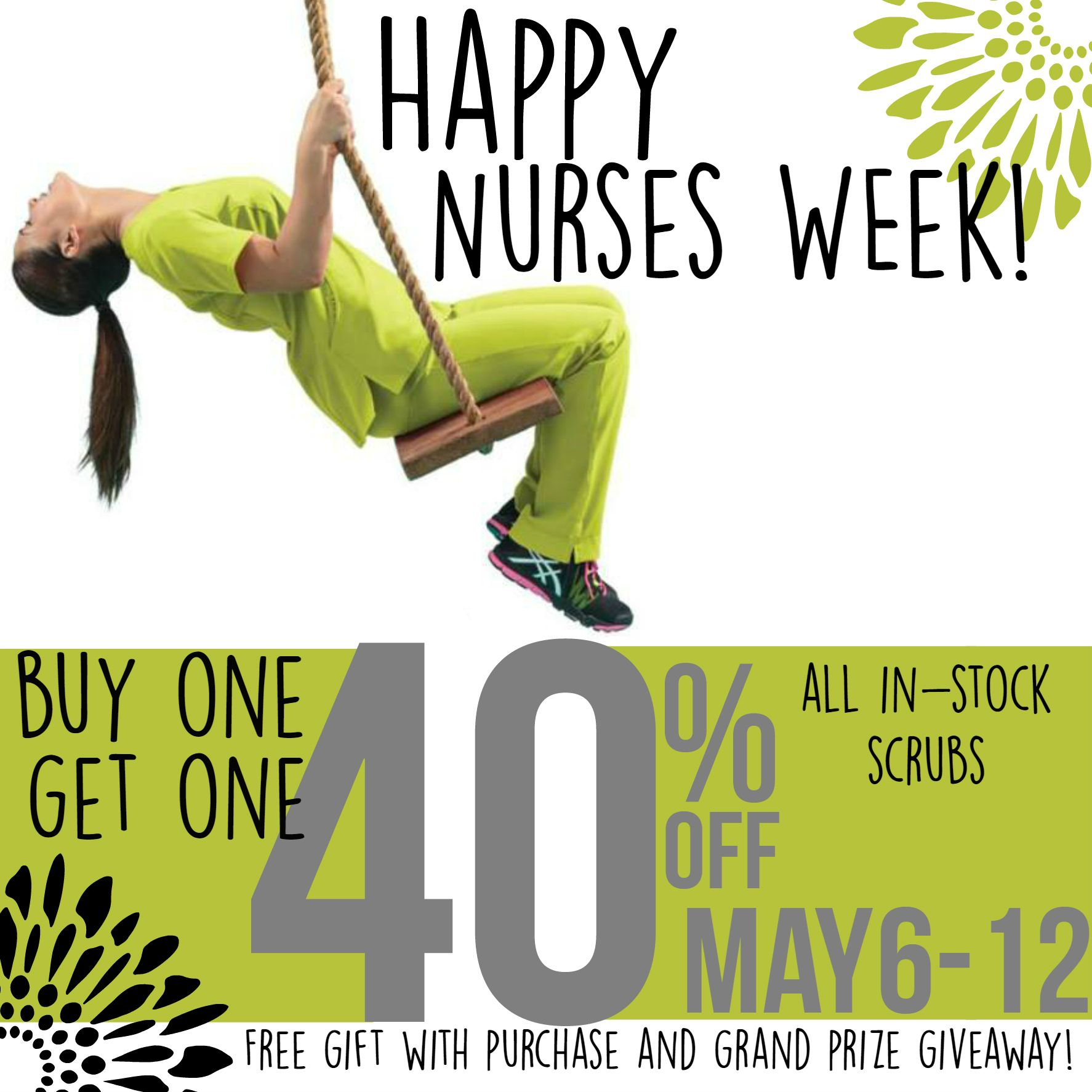 We decided to start the #NursesWeek  celebration a day early so starting Tuesday, May 5, we will have a HUGE Store-wide Sale: BOGO 40% on all in-stock scrubs. Select scrubs only $5 while supplies last. Thank you to all the medical professionals who do so much for us each and EVERY day! We just want to say thank you with an awesome sale and a free gift with purchase until May 12th! | Alegria Cherokee Store #NationalNursesWeek #NursesWeek2015 #nurses #nursing #scrubs #uniforms #CLT…