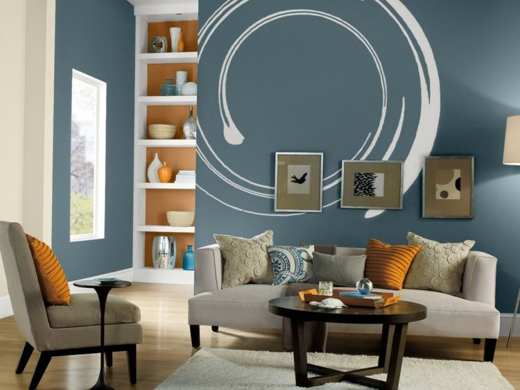 Mit Farben Einrichten ▷ Wandfarben, Möbel Und Accessoires ... Farbgestaltung Wohnzimmer Blau