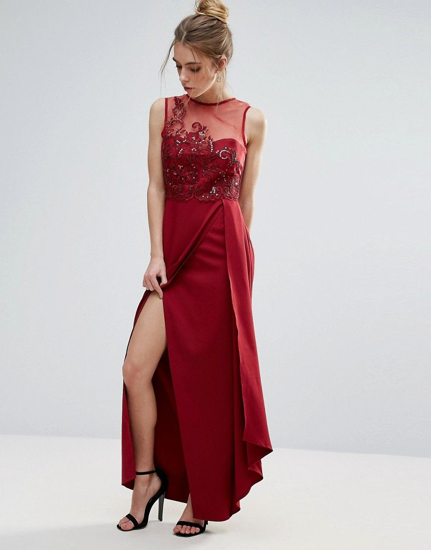 33664274df3 Little Mistress Red Lace Applique Maxi Dress - Red