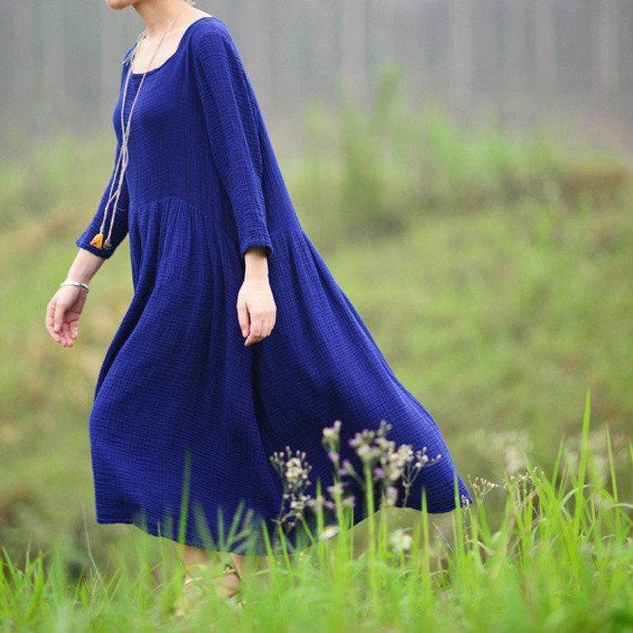 Dark Blue cotton&linen dress.It's really a good choice to wear on Holidays to make you relax.DO YOU LOVE IT?