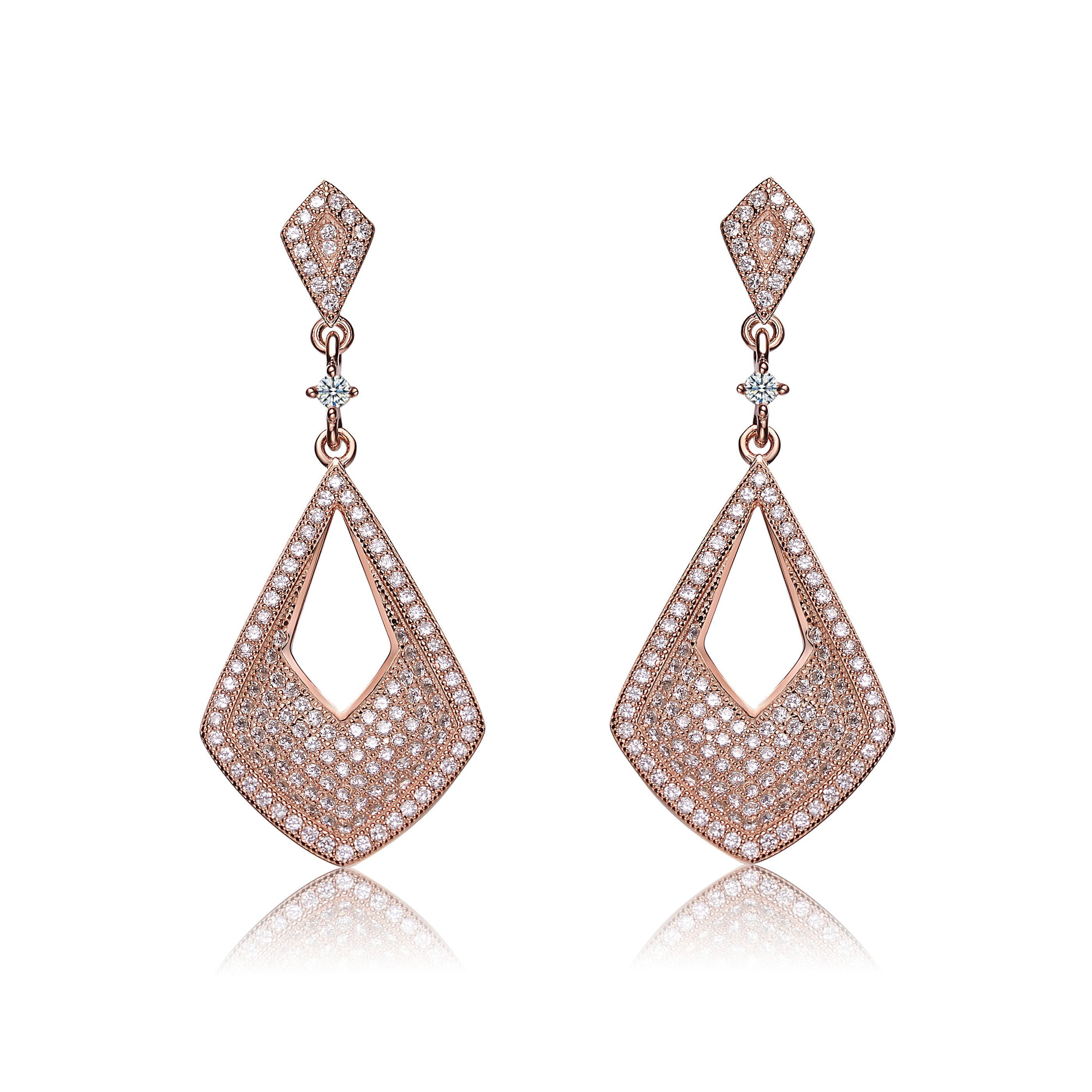 Lily Jewelry Ladies Fashion Sparkly Filigree Rose Gold Tone Water Drop Shape Drop Earrings for Women 1pbb8DEc1x