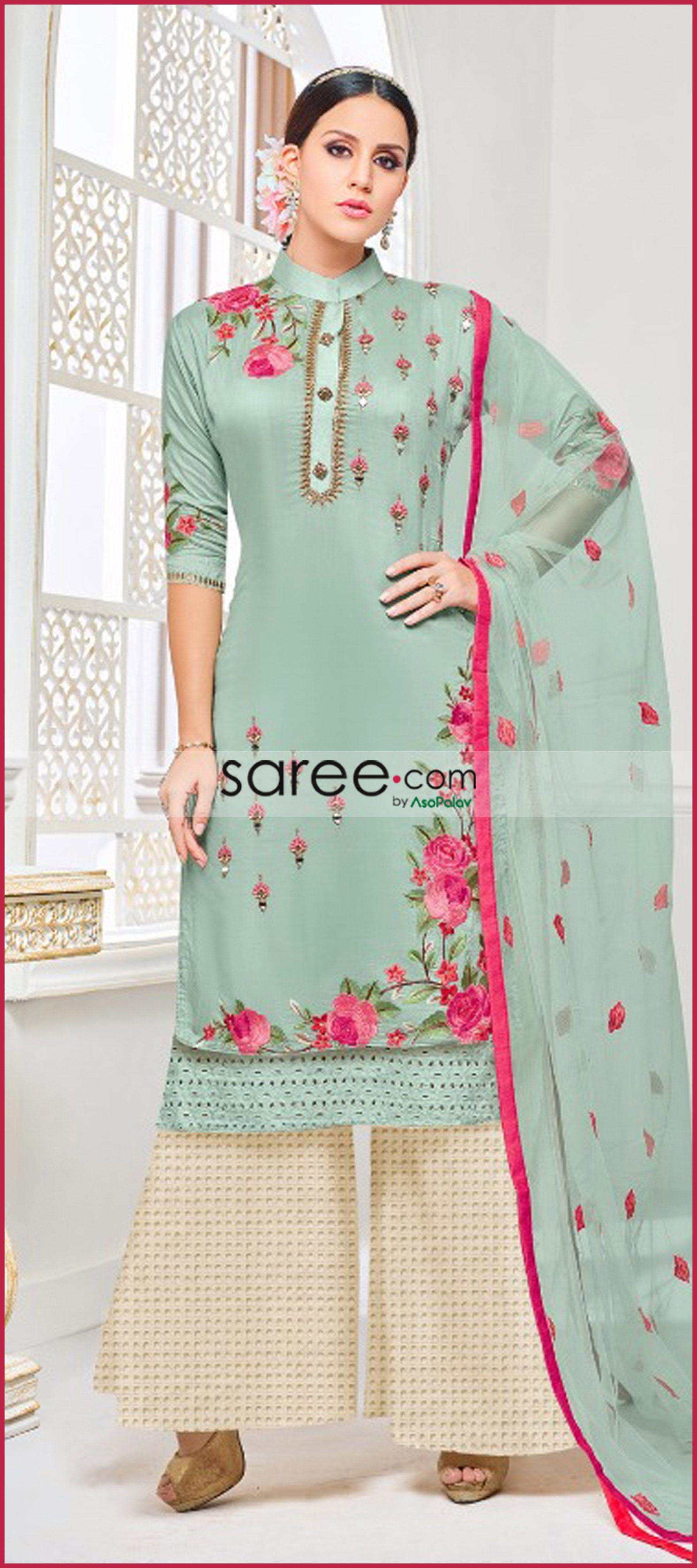d9933e6eb5 Green Muslin Silk Suit with Embroidery in 2019 | Dresses embroidery ...
