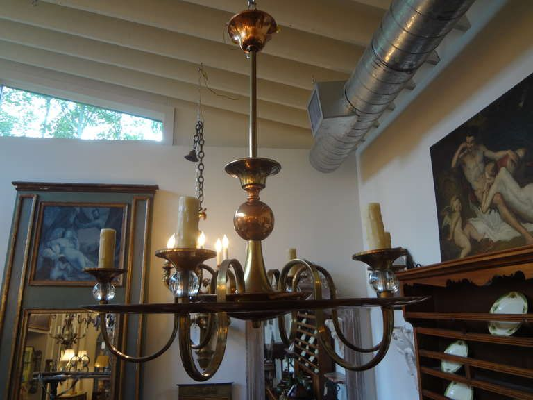 French Art Deco Adnet Chandelier. brass and copper. Excellent condition, newly wired. c1930-40