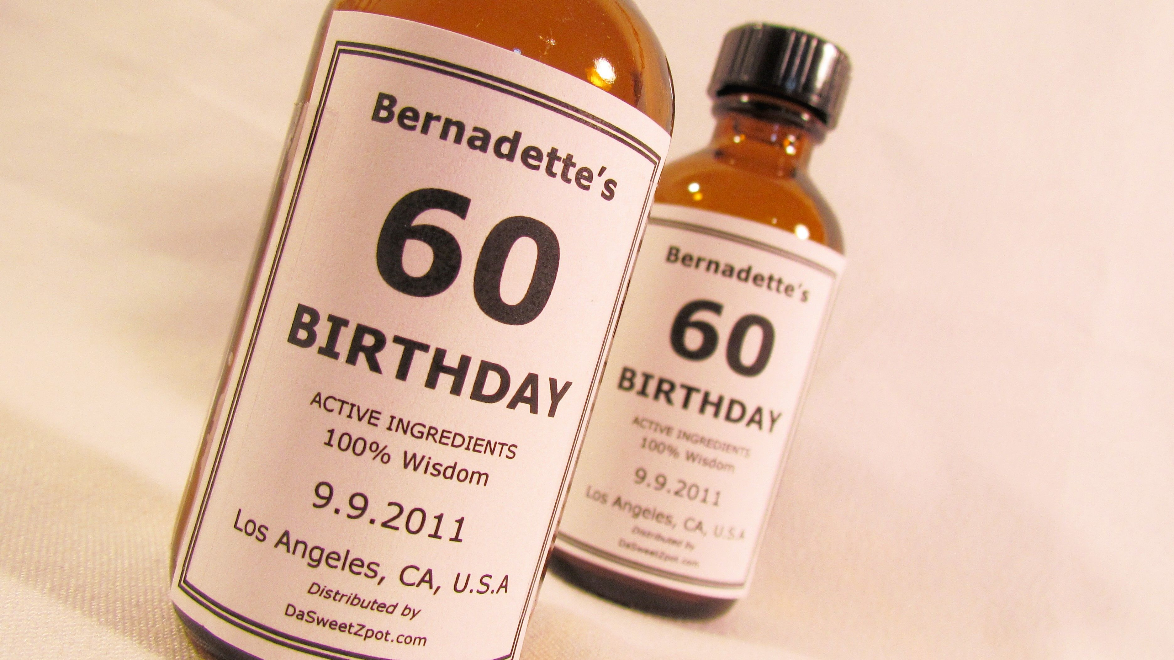 60th Birthday Party favors Ingre nts Wisdom Not really