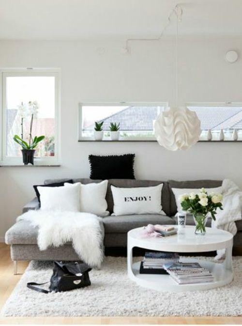 wohnzimmer weiss farben bilden sie schane kontraste in schwarz weia grau