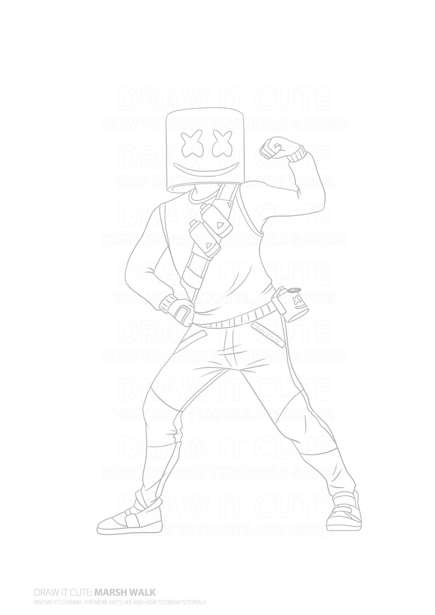 How to draw Marsh Walk | Fortnite Season 7 Drawing Tuto on ...