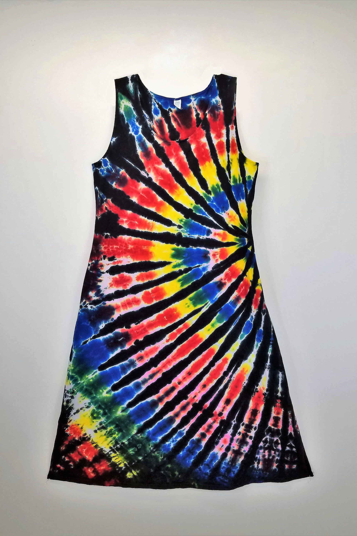 Tie Dye Tank Dress Black Backed Rainbow Spiral Summer Dress Tie Dye Beach Dress Hippy Tie Dy Dress Festival Dr Tie Dye Techniques Tie Dye Black Tank Dress [ 3000 x 2000 Pixel ]