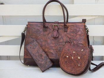 Juan Antonio Tooled Leather Travel Bag  e31aaa21d3124