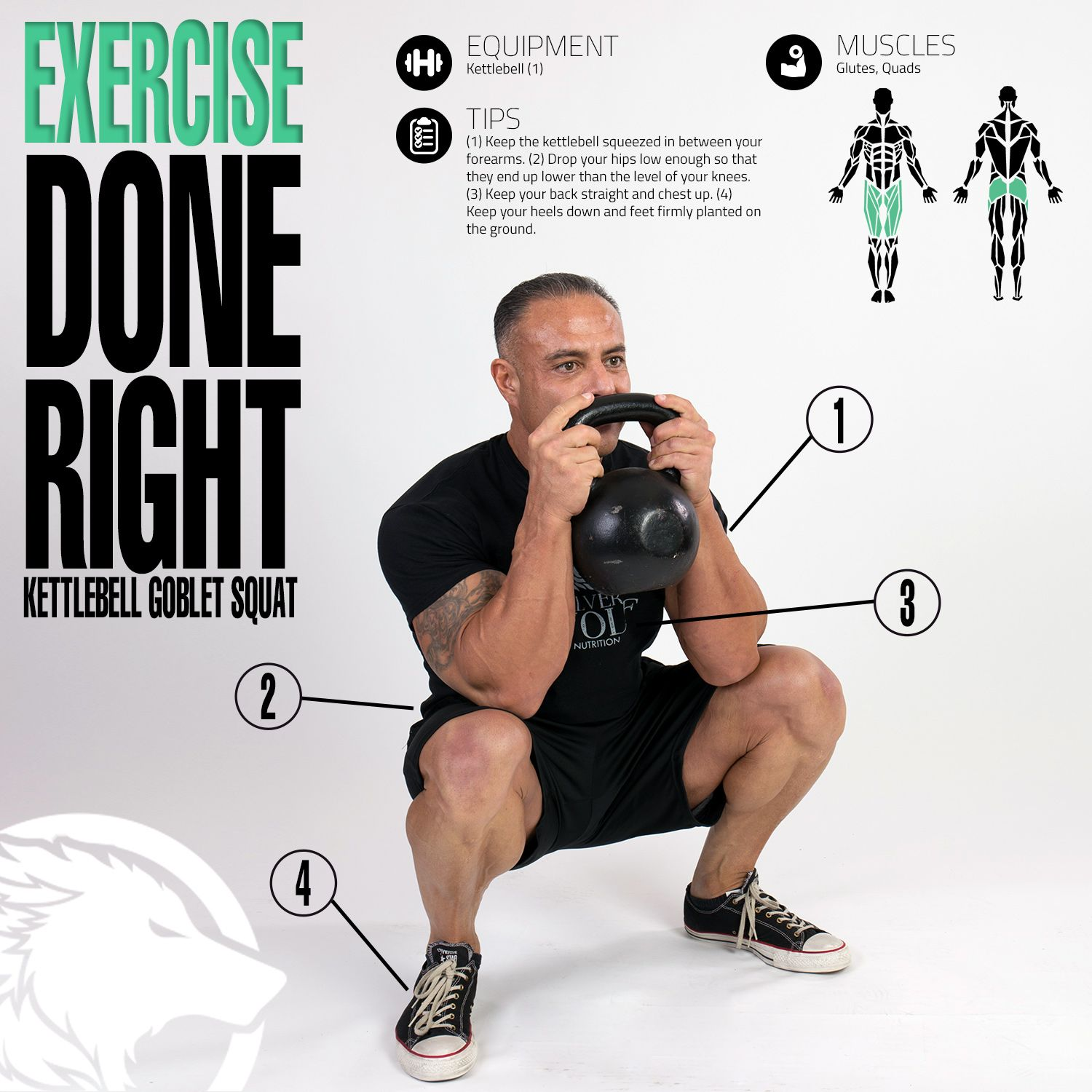 Form At A Glance Kettlebell Windmill: Kettlebell Goblet Squat Infographic