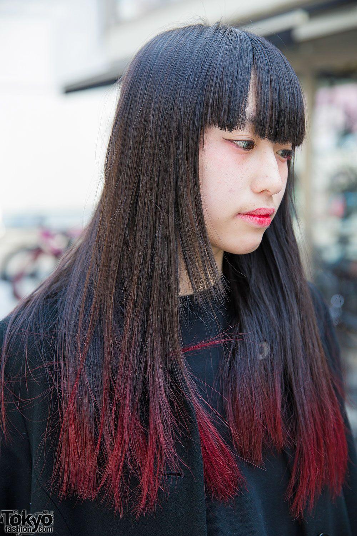 Harajuku Girl W Pink Dip Dye Maxi Coat White Heeled Loafers Hair Tips Dyed Red Dip Dye Hair Red Dip Dye Hair