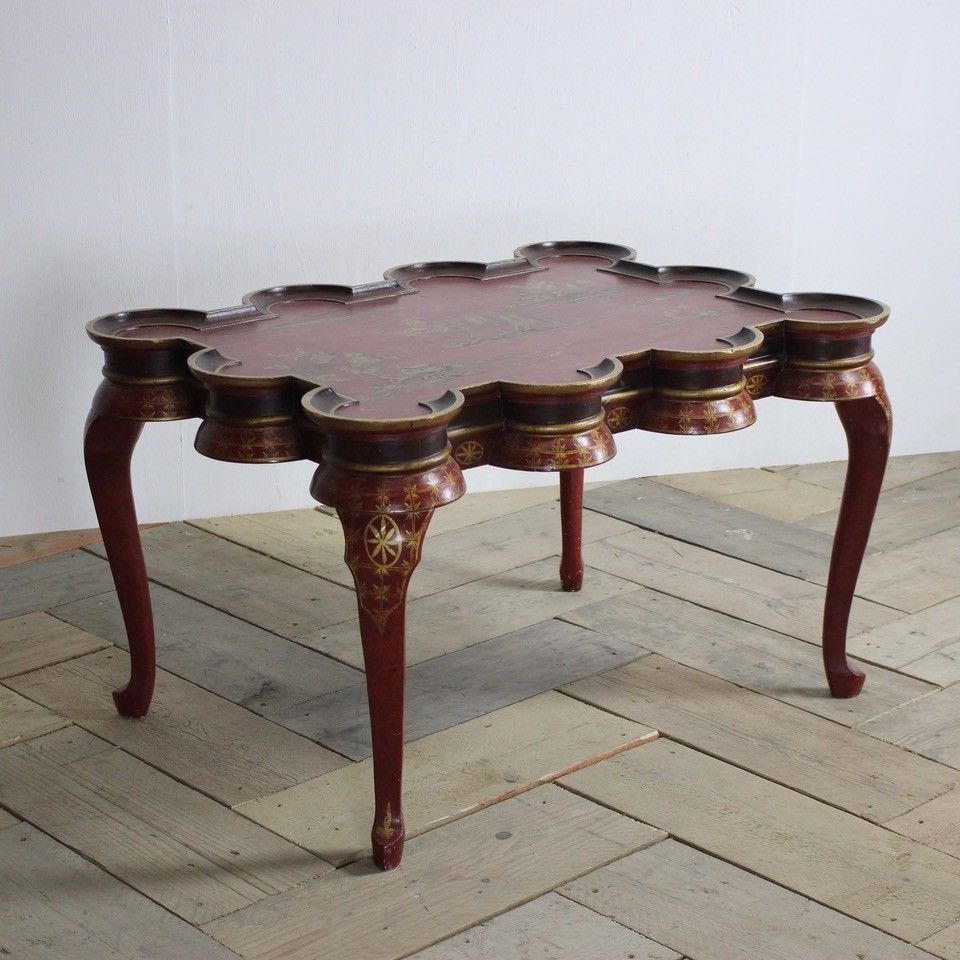 lacquer coffee table brass