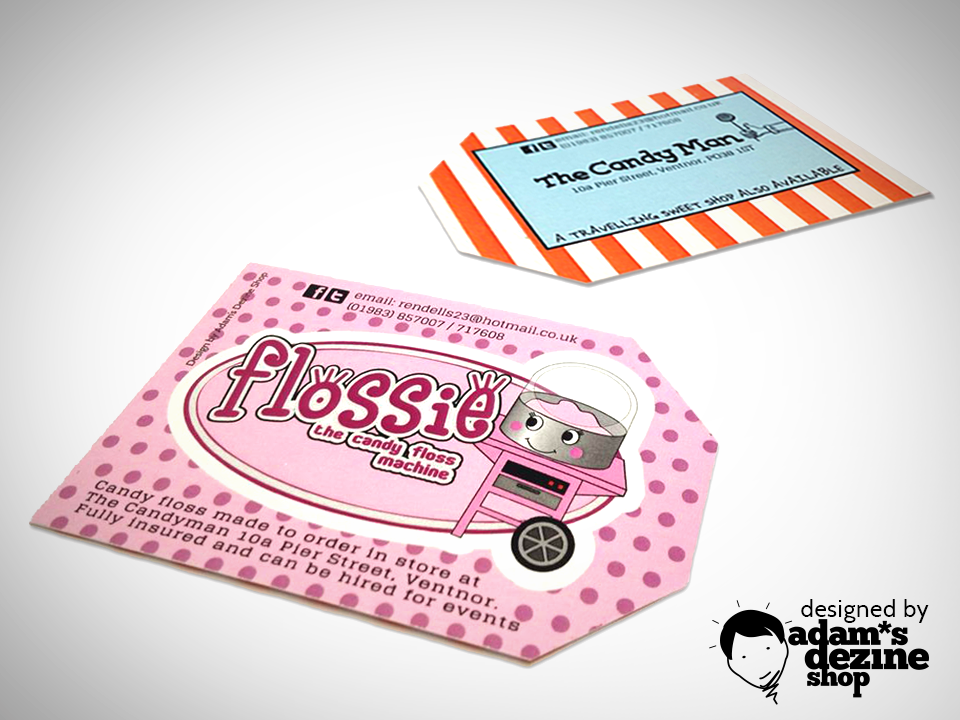 Business cards/labels for The Candy Man advertising the shop and ...