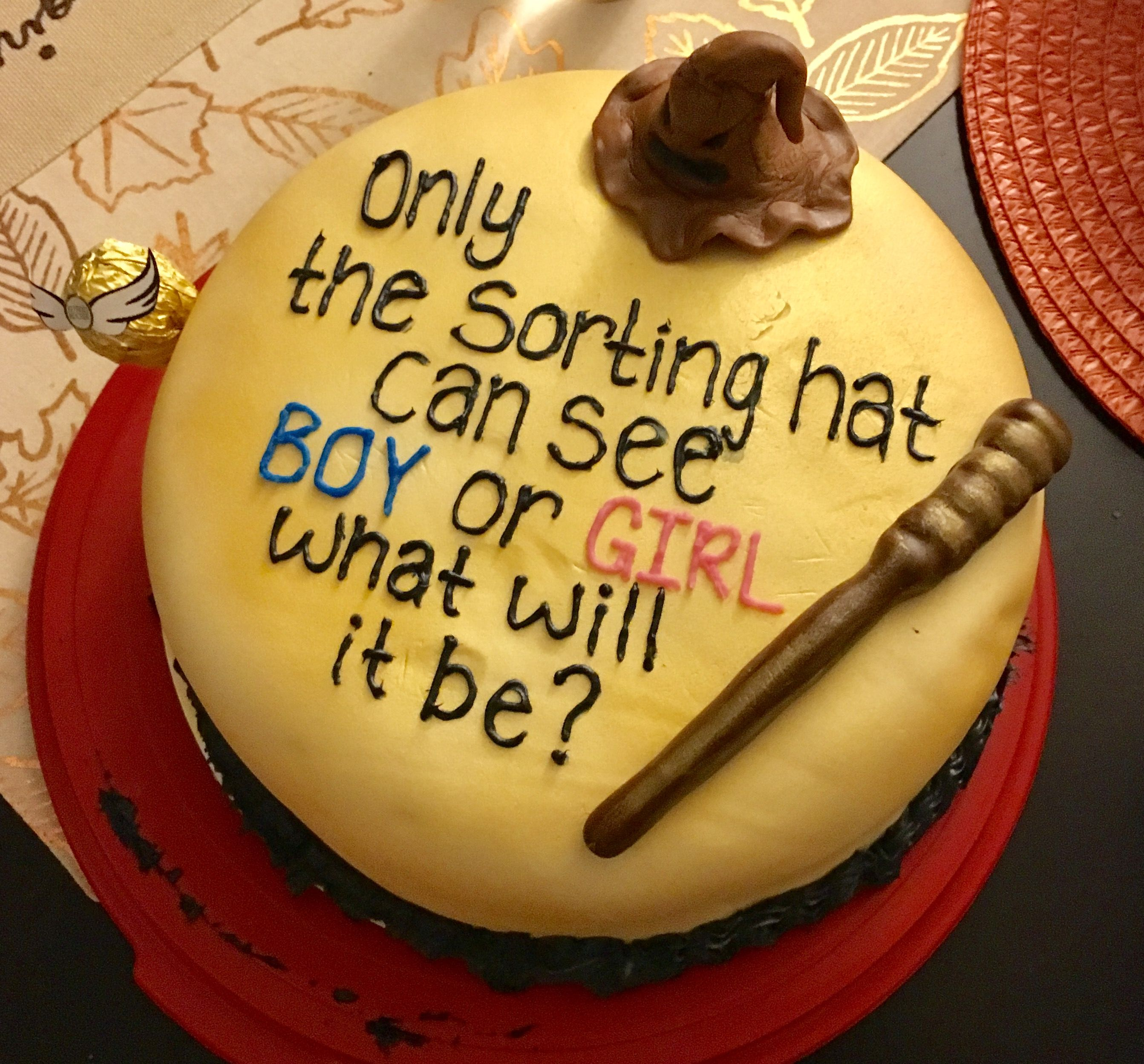 Harry Potter Gender Reveal Cake With Images Baby Reveal Cakes
