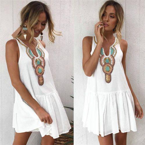 84f499d0f0ad UK Womens Summer Holiday Beach Bardot Button Through Ladies Sun Dress Size 6 -14