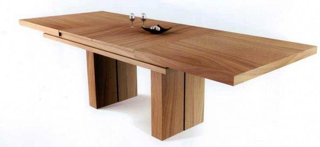 Mesa de madera natural extensible con pie central modelo Verona