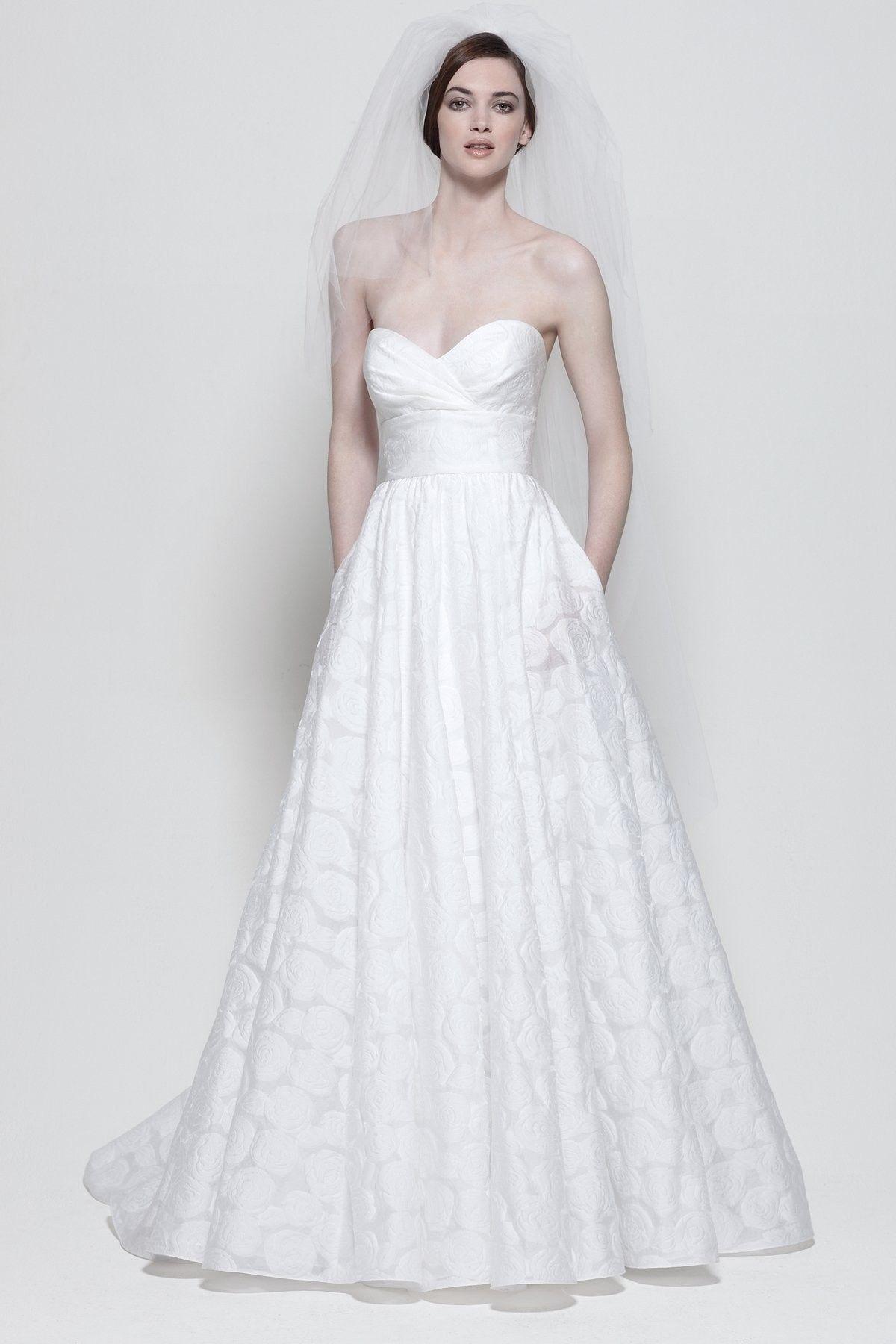 Floral burnout empire strapless sweetheart wedding dress