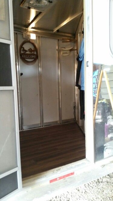 I Replaced The Carpet In My Dressing Room With Waterproof Vinyl Flooring Easy To Install Snaps Together Like L Trailer Remodel Horse Trailers Vinyl Flooring