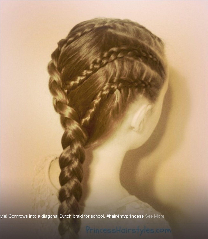 Princess Hairstyles Princess Hairstyles Corn Rows W Diagonal Dutch Braid  Hair