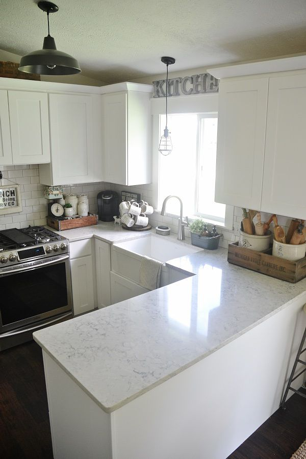 Helix By Silestone Quartz Counter For A Carerra Marble Look Like Love The White Cabinets With Backsplash And Light