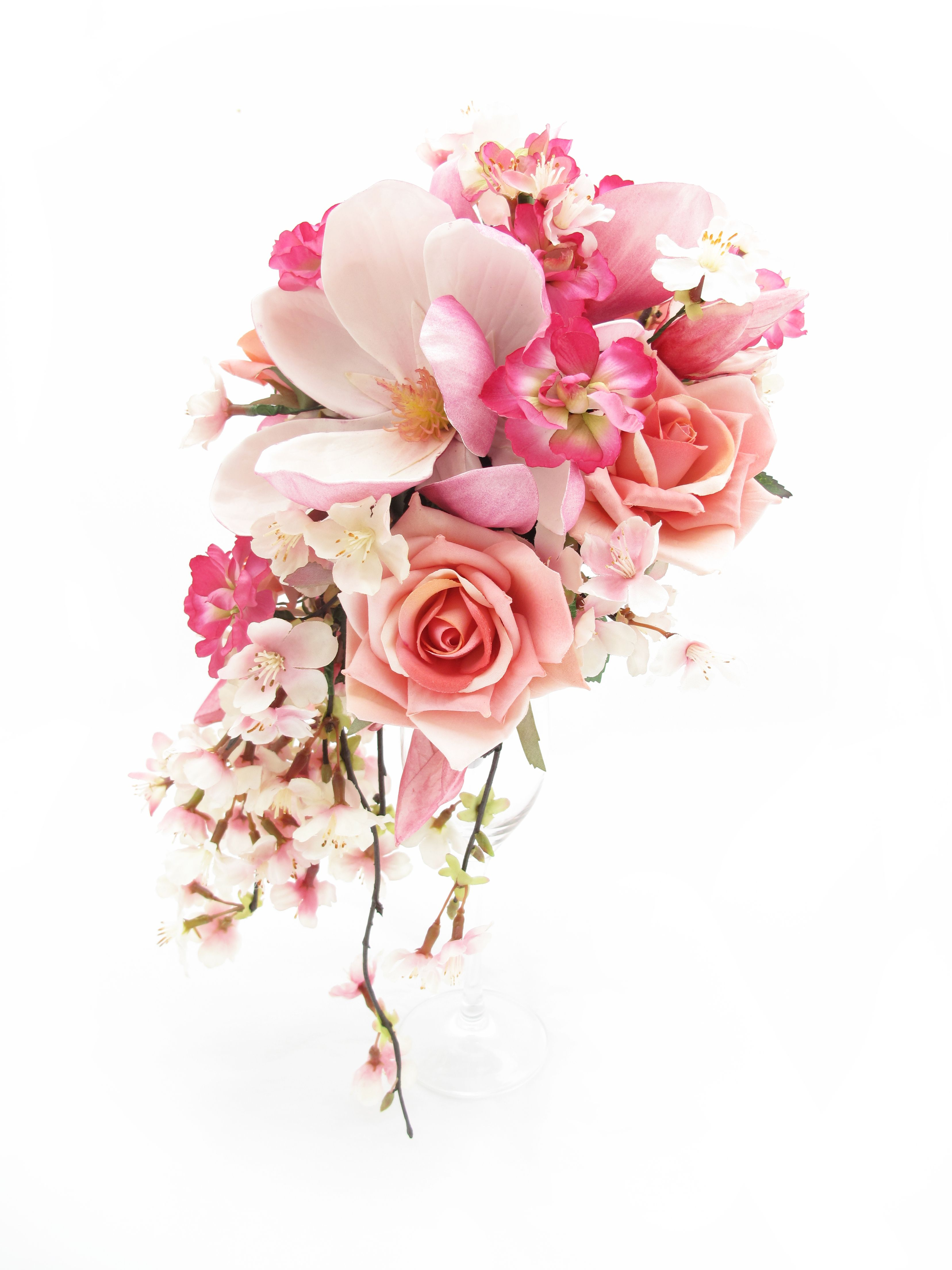 Trail bouquet of cherry blossom, pink roses, stock florets