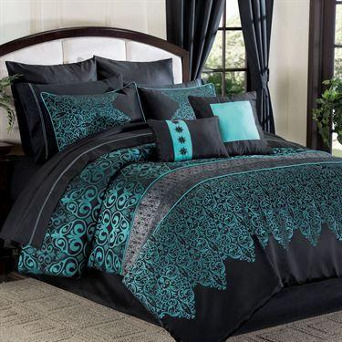 Kismet 12 Pc Bed In A Bag Comforter Set Bedroom Turquoise Comforter Sets Luxurious Bedrooms Teal and black bedding sets