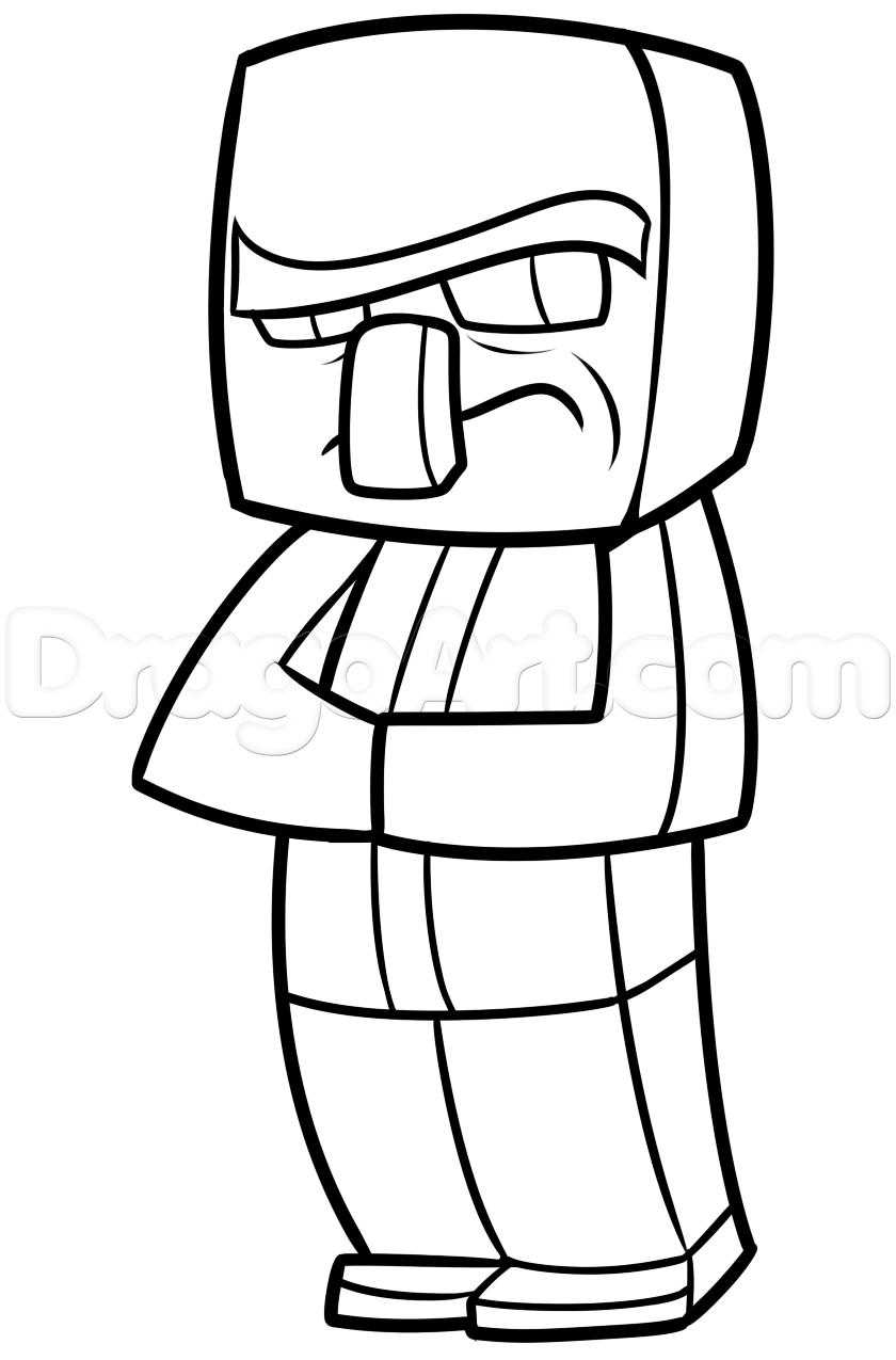 How To Draw A Minecraft Villager By Dawn With Images Kolorowanki Minecraft