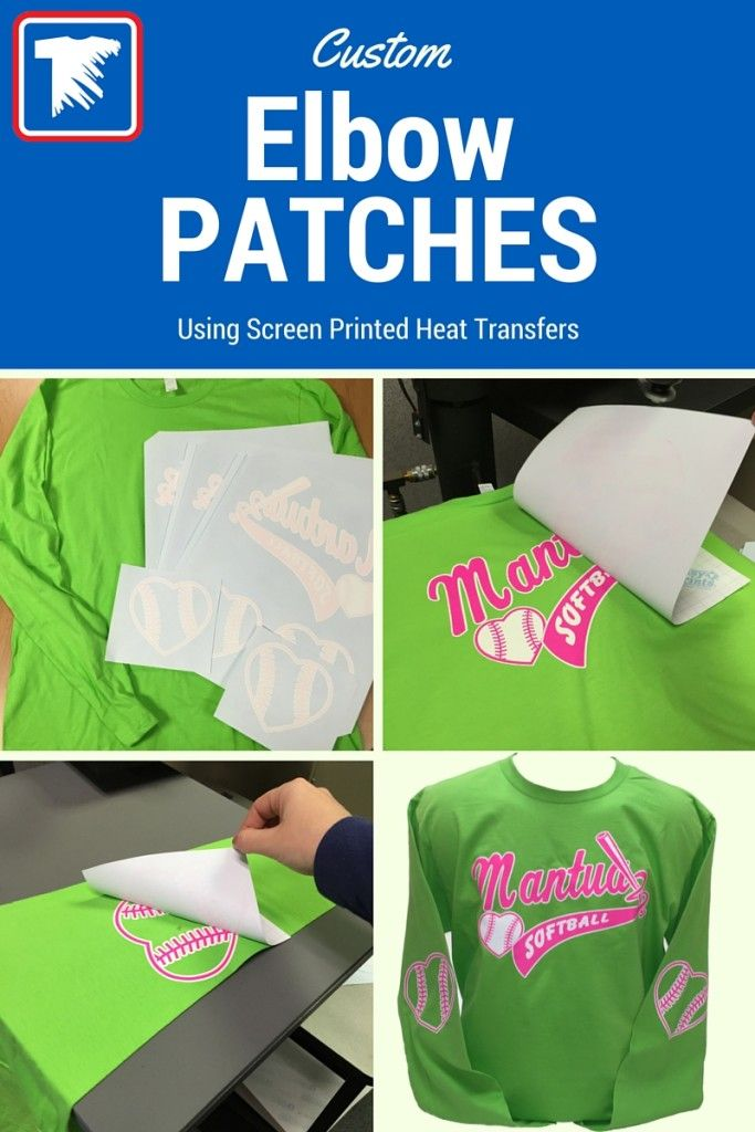 5c4846b71 Custom Elbow Patches using Heat Transfers - A heat press can be used to  print custom elbow prints for softball, cheer, and other female teams.