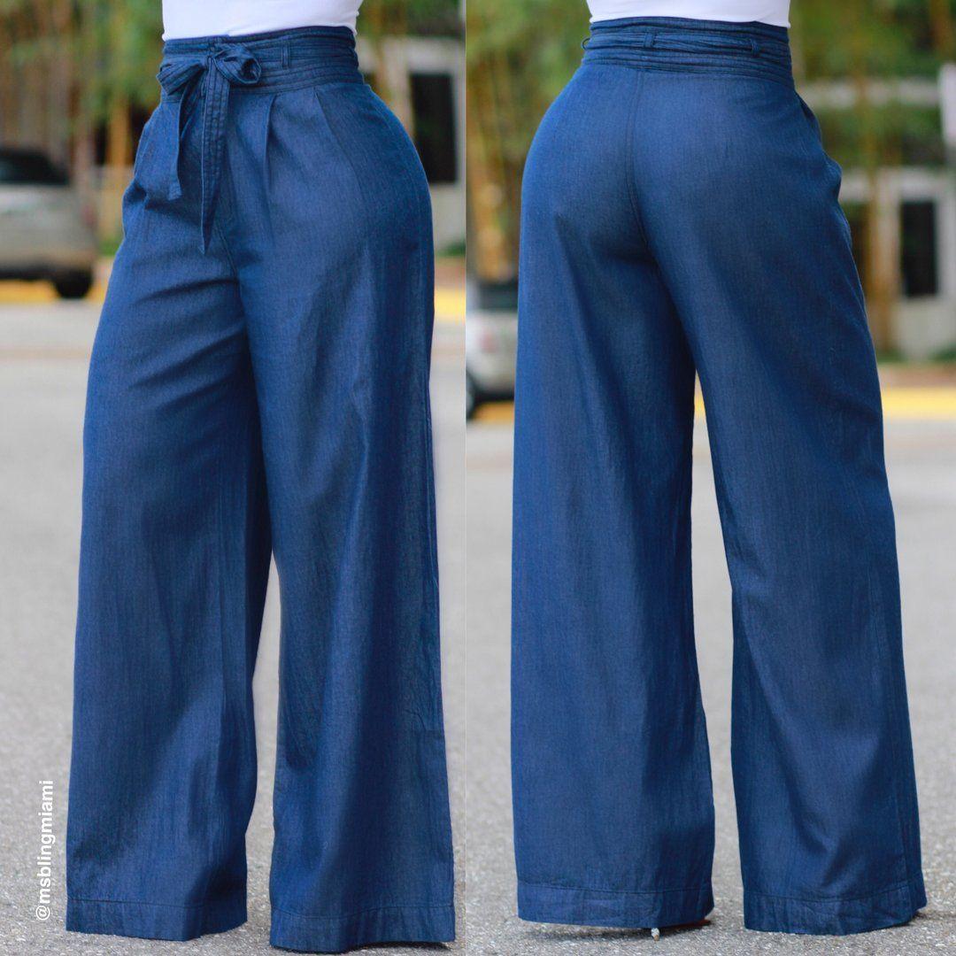 Yanid Denim Palazzo Pants Final Sale Pantalones De Vestir Mujer Pantalones De Moda Mujer Pantalones De Moda