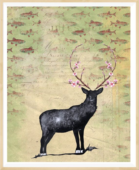 Rustic deer print, vintage style wall decor, rustic wall decor ...