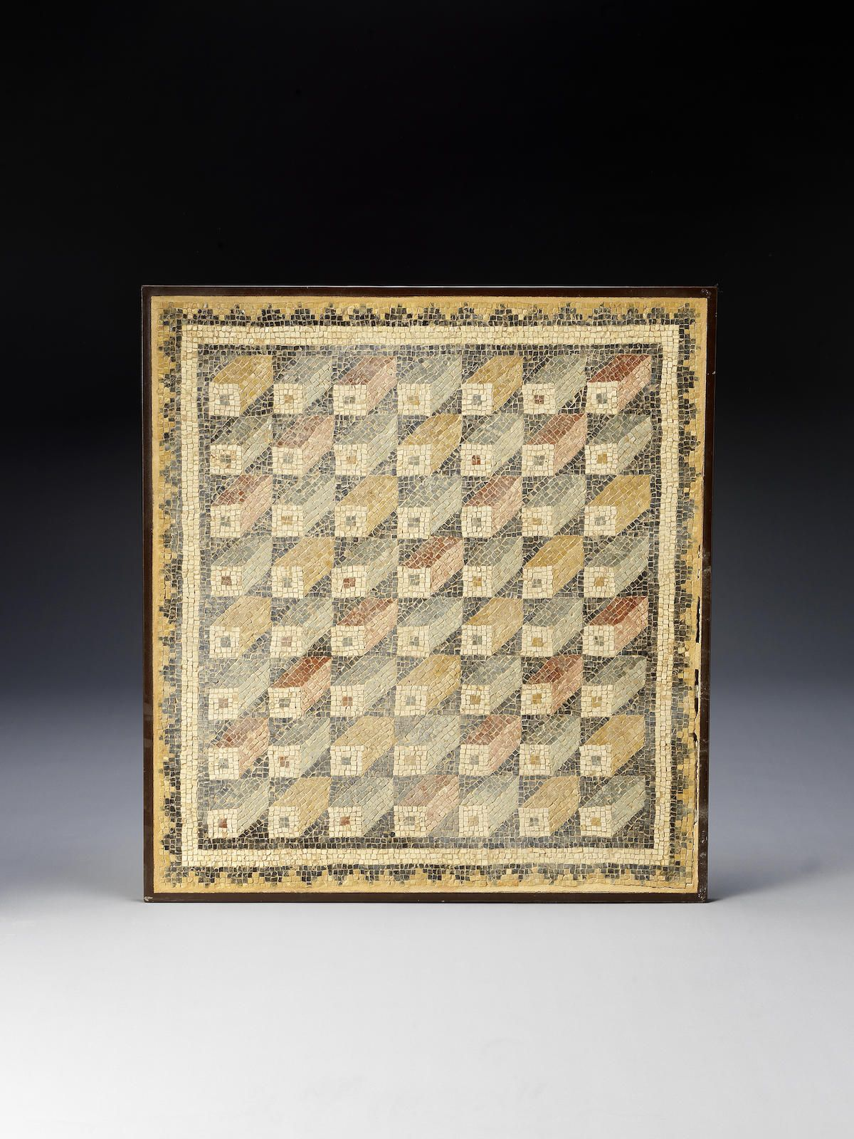 a roman geometric mosaic panel pebble paving pinterest roman